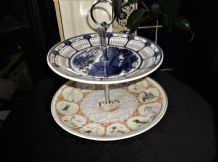 "2 TIER CAKE PLATES & CHROME HANDLE WEDGWOOD CALENDAR YEARS 9"" 2000 & 10"" 1988"
